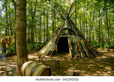 Fort William Historical Park, aboriginal village, Thunder Bay, Ontario, Canada