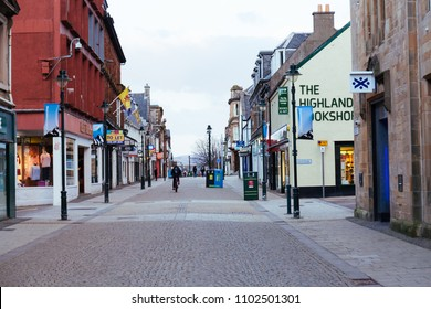 Fort William, UK - March 17, 2018: Empty High Street in Fort William town out of season on cloudy spring day, Highlands, Scotland