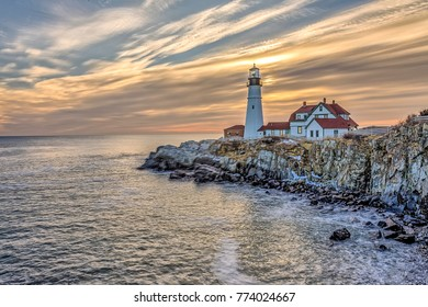 Fort Williams Lighthouse in South Portland Maine in winter