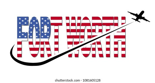 Fort Worth flag text with plane silhouette and swoosh illustration