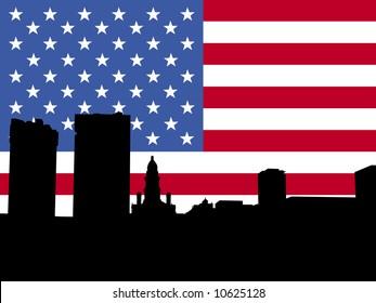 fort worth Skyline with American flag illustration JPG