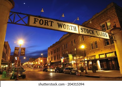 Fort Worth, Teas, USA, - March. 24. 2012: Banner at the Fort Worth Stockyards Historic District,  former livestock market, now main tourist attraction in Fort Worth, TX