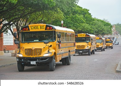 FORT WORTH, TEXAS- APRIL 18, 2016: Yellow Scholl bus at the streets