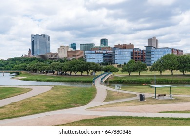 Fort Worth, Texas city skyline from across the Trinity river