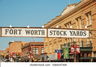 Fort Worth, Texas - September 2009: Close up view of a sign above the street in front of buildings in the Fort Worth Stock yards