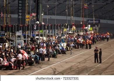 Fort Worth, Texas, USA - June 7th 2013 - Izod Indycar Series Firestone 550 - Texas Motor Speedway - Pit crews prepare for Saturday's practice round preceding the Firestone 550.