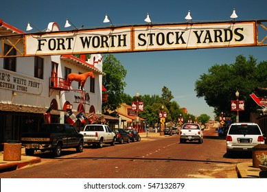 Fort Worth, Texas, USA, May 18 A Banner at the Fort Worth Stockyards Historic District, former livestock market, now main tourist attraction in Fort Worth, TX