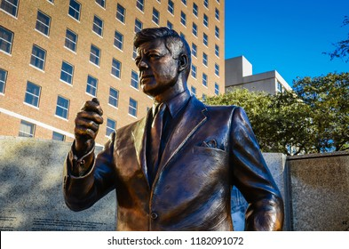 Fort Worth, Texas / USA - November 11, 2012: Bronze statue of President John F. Kennedy in Fort Worth, Texas commemorating his last day on earth.