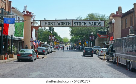 FORT WORTH, TX - APRIL 18, 2016: Banner at the Fort Worth Stock Yards