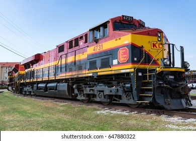 FORT WORTH, TX - MAY 11: Kansas City Southern de Mexico railroad locomotive parked in Forth Worth, Texas on May 11, 2017