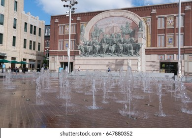 FORT WORTH, TX - May 12: Water fountains in Sundance Square in Fort Worth, Texas on May 12, 2017.
