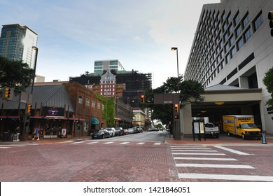 Fort Worth, TX / US - May 2018: Downtown Fort Worth near Sundance Square