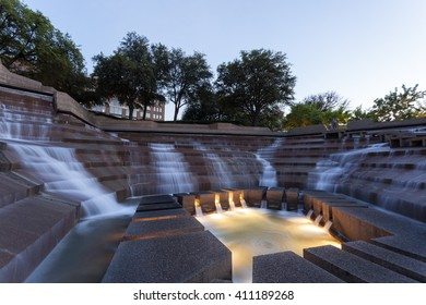 FORT WORTH, TX, USA - APR 6, 2016: The Water Gardens in the city of Fort Worth at dusk. Texas, United States