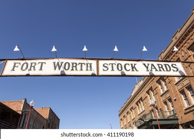 FORT WORTH, TX, USA - APR 6, 2016: Street in the Fort Worth Stockyards historic district.  Texas, United States