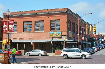 FORT WORTH, USA - APR 18, 2016: Fort Worth Stockyards historic district