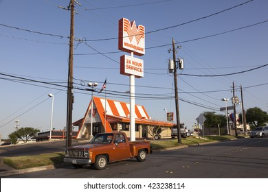 FORT WORTH, USA - APR 6, 2016: American fast food chain restaurant Whataburger in Texas, United States