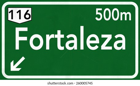 Fortaleza Brazil Highway Road Sign