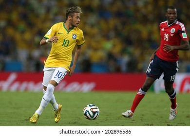 FORTALEZA, BRAZIL - JULY 04, 2014: Neymar of Brazil during the World Cup Quarter-finals game between Brazil and Colombia in the Estadio Castelao. NO USE IN BRAZIL.