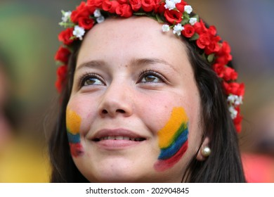 FORTALEZA, BRAZIL - JULY 04, 2014: Soccer fan of Colombia during the World Cup Quarter-finals game between Brazil and Colombia in the Estadio Castelao. NO USE IN BRAZIL.