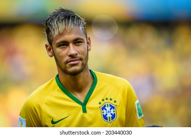 FORTALEZA, BRAZIL - July 4, 2014: Neymar of Brazil during the National Anthem at the FIFA 2014 World Cup quarter-final game between Brazil and Colombia at Estadio Castelao. No Use in Brazil.