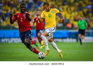 FORTALEZA, BRAZIL - July 4, 2014: Neymar of Brazil competes for the ball during the FIFA 2014 World Cup quarter-finals game between Brazil and Colombia at Estadio Castelao. No Use in Brazil.