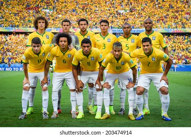 FORTALEZA, BRAZIL - July 4, 2014: Brazil team posing for a photo at the FIFA 2014 World Cup quarter-finals game between Brazil and Colombia at Estadio Castelao. No Use in Brazil.