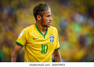 FORTALEZA, BRAZIL - July 4, 2014: Neymar of Brazil during the FIFA 2014 World Cup quarter-finals game between Brazil and Colombia at Estadio Castelao. NO USE IN BRAZIL.