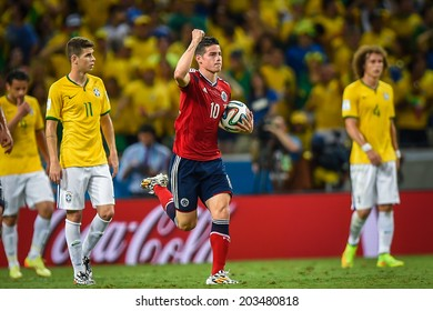 FORTALEZA, BRAZIL - July 4, 2014: James Rodriguez celebrates after scoring a goal during the World Cup quarter-finals game between Brazil and Colombia at Estadio Castelao. NO USE IN BRAZIL.