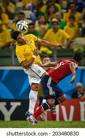 FORTALEZA, BRAZIL - July 4, 2014: Hulk of Brazil competes for the ball during the FIFA 2014 World Cup quarter-finals game between Brazil and Colombia at Estadio Castelao. NO USE IN BRAZIL.