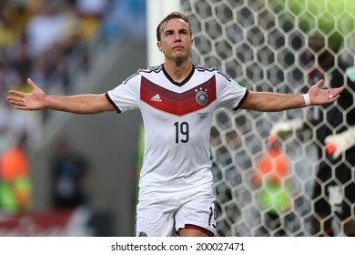 FORTALEZA, BRAZIL - June 21, 2014: Goetze of Germany celebrates during the World Cup Group G game between Germany and Ghana at Estadio Castelao. No Use in Brazil.