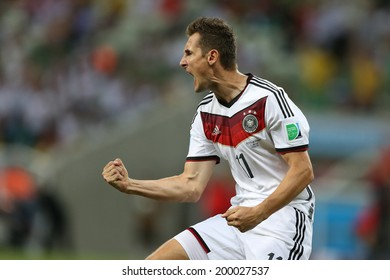 FORTALEZA, BRAZIL - June 21, 2014: Klose of Germany celebrates during the World Cup Group G game between Germany and Ghana at Estadio Castelao. No Use in Brazil.