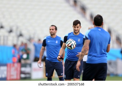FORTALEZA, BRAZIL - JUNE 23, 2014: Players of Greece during a training session in the Castelao Arena. NO USE IN BRAZIL.