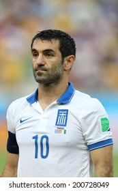 FORTALEZA, BRAZIL - JUNE 24, 2014: Karagounis of Greece during the World Cup Group C game between Greece and Ivory Coast at the Castelao stadium. NO USE IN BRAZIL.