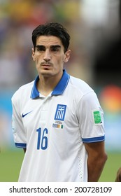FORTALEZA, BRAZIL - JUNE 24, 2014: Christodoulopoulos of Greece during the World Cup Group C game between Greece and Ivory Coast at the Castelao stadium. NO USE IN BRAZIL.