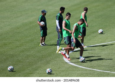 FORTALEZA, BRAZIL - JUNE 28, 2014: Players of Mexico during a training session for the Round 16 of the FIFA World Cup 2014 at the University of Fortaleza, Unifor. NO USE IN BRAZIL.