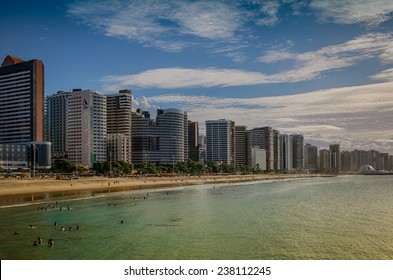 FORTALEZA, BRAZIL - JUNE 30, 2014: Praia de Iracema located in the Brazilian city of  Fortaleza in the state of Ceara.