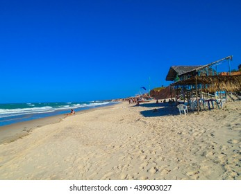 FORTALEZA, BRAZIL - OCTOBER 12, 2015: Unidentified people at the Canoa Quebrada Beach, famous for paragliding. Swiss pilot who introduced this new practice Gerome Bertand Saunier, known as Jeronimo