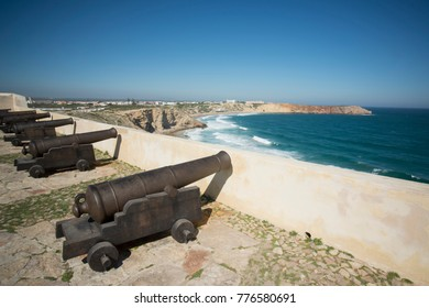 the fortaleza de Sagres at the Ponta de Sagres at the Cabo de Sao Vicente near the town of Sagres at the Algarve of Portugal in Europe.  Portugal, Algarve, April, 2017