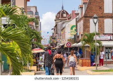 Fort-de-France, FR: 21 July 2018: Rue de la Republique in Fort-de-France, Martinique, West Indies, is the main commercial street.