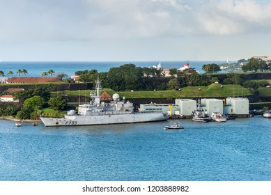 Fort-de-France, Martinique - December 19, 2016: French Navy frigate FS Germinal (F735) moored in port of Fort-de-France, Martinique, Caribbean paradise. Martinique is an insular region of France.