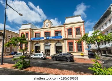 Fort-de-France, Martinique - December 19, 2016: The picturesque post office building in Fort-de-France city. Fort-de-France is the capital of Martinique island, Lesser Antilles, French West Indies.