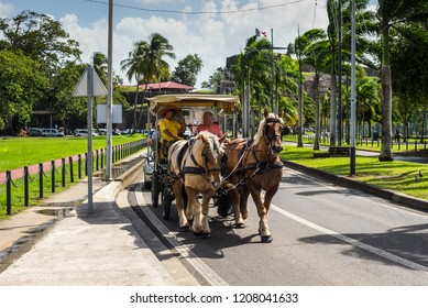 Fort-de-France, Martinique - December 19, 2016: Tourists in Horse Drawn Carriage in the street of Fort-de-France, France's Caribbean overseas department of Martinique, Lesser Antilles, West Indies.