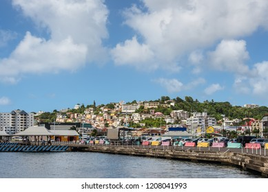 Fort-de-France, Martinique - December 19, 2016: View of the waterfront of Fort de France city of France's Caribbean overseas department of Martinique, Lesser Antilles, French West Indies.