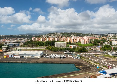Fort-de-France, Martinique - December 19, 2016: Cityscape of Fort-de-France, Martinique, Lesser Antilles, West Indies, Caribbean. View from the cruise ship.
