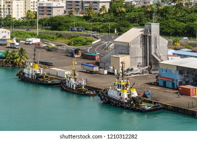 Fort-de-France, Martinique - December 19, 2016: Sea tugs moored in port of Fort-de-France, Martinique, Caribbean paradise. Martinique is an insular region of France.