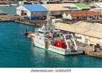 Fort-de-France, Martinique - December 19, 2016: Fishing Vessel Roncador moored in port of Fort-de-France, Martinique, Caribbean paradise. Martinique is an insular region of France.
