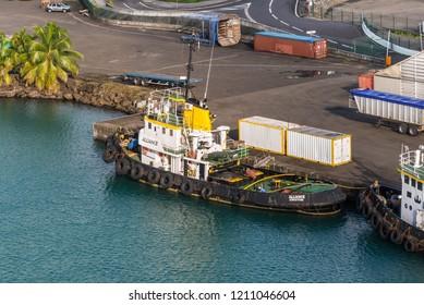 Fort-de-France, Martinique - December 19, 2016: Tugboat moored in port of Fort-de-France, Martinique, Caribbean. Martinique is an insular region of France.