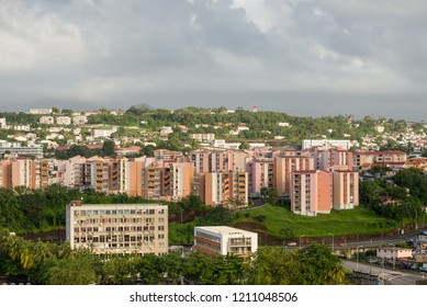 Fort-de-France, Martinique - December 19, 2016: Residential buildings on a slope in the Fort-de-France, Martinique, Lesser Antilles, West Indies, Caribbean. View from the cruise ship - cloudy weather.