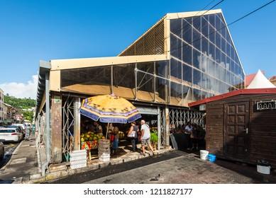 Fort-de-France, Martinique - December 19, 2016: Market Hall in Fort-de-France city in Martinique, Caribbean, Lesser Antilles. Martinique is an insular region of France.