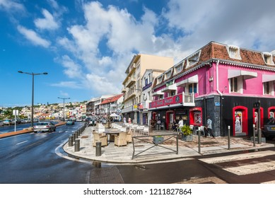 Fort-de-France, Martinique - December 19, 2016: The street life of Fort-de-France city in Martinique, Caribbean, Lesser Antilles. Martinique is an insular region of France.